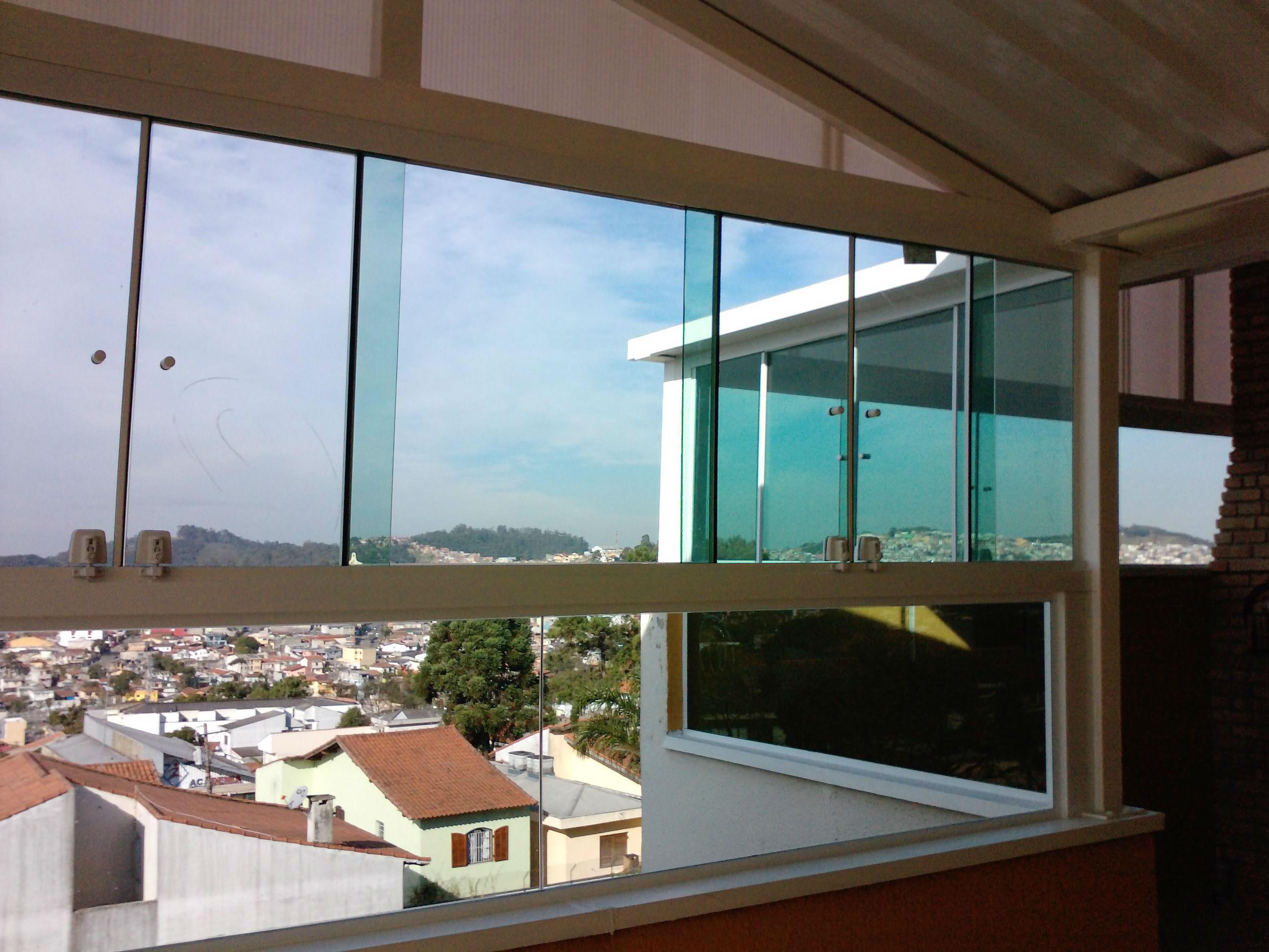 #40768C Fechamento de área com vidros fixos   janelas de correr em vidro  416 Janelas De Vidros Em Santo Andre